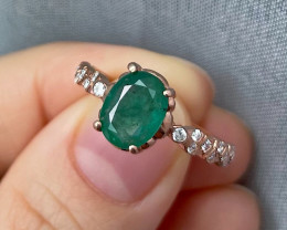 Natural Zambian Emerald Pink Gold Over Sterling Silver F24