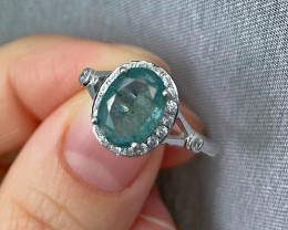 Natural Zambian Emerald Over Sterling Silver F28