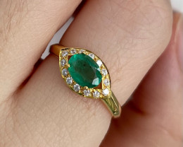 Natural Zambian Emerald Gold Over Sterling Silver F41