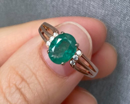 Natural Zambian Emerald Pink Gold Over Sterling Silver P49