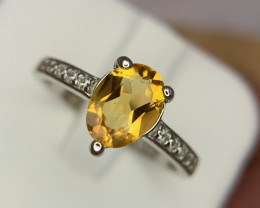 Natural Citrine ring with CZ.