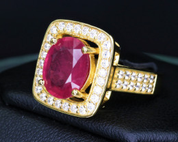 Gorgeous Natural Ruby, CZ & 925 Stylish Yellow Sterling  Silver Ring