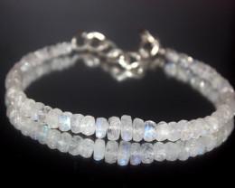 28 Crts Natural Rainbow Moonstone Beads Bracelet