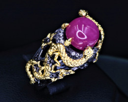 Attractive Natural Ruby, CZ & 925 Yellow & Black Stylish Sterling  Silver R