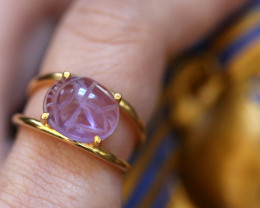 Amethyst Silver Ring Gold Plated - Egyptian Scarab design Size6.5  CK 704