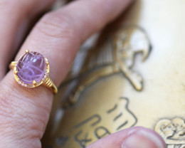 Amethyst Silver Ring Gold Plated - Egyptian Scarab design Size 6 CK 705