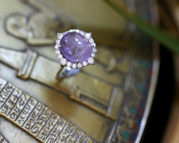 Amethyst Silver Ring with Egyptian Scarab design Size6 CK 707