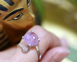 Amethyst Silver Ring with Egyptian Scarab design Size 6  CK 709