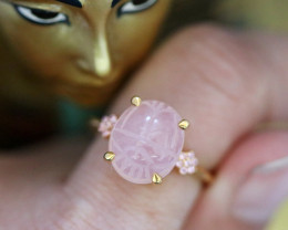 Rose Quartz Silver Ring Gold Plated - Egyptian Scarab design Size 7 CK 713