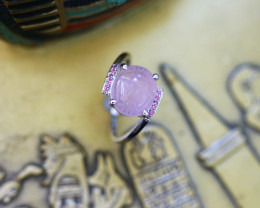 Rose Quartz Silver Ring with Egyptian Scarab design Size6 CK 715