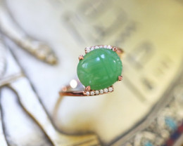 Chrysoprase Silver Ring Copper Plated-Egyptian Scarab design Size6.5 CK 717