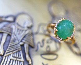 Chrysoprase  Silver Ring Gold Plated - Egyptian Scarab design Size6 CK 718