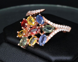 Gorgeous Natural Multi Sapphire, CZ & Rose Gold 925 Fancy Sterling  Silver
