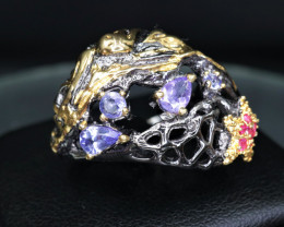 Attractive Natural Tanzanite, CZ & 925 Stylish Antique Silver Fancy Design