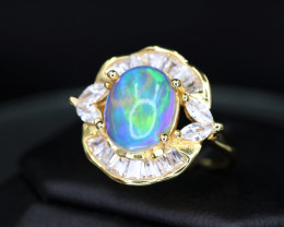 Fabulous Natural Fire Opal, CZ & 925 Yellow Stylish Sterling  Silver Ring