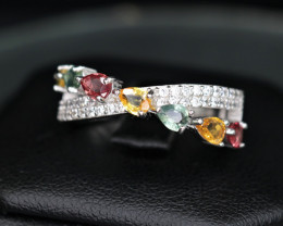 Gorgeous Natural Multi Sapphire, CZ & 925 Fancy  Sterling Silver