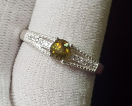 Natural Multi Fire Sphene 10.45 Carats 925 Silver Ring