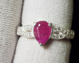 Natural Ruby 16.45 Carats 925 Silver Ring (SA)
