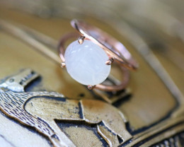 Moonstone Silver Ring Copper Plated - Egyptian Scarab design Size6.5 CK 720