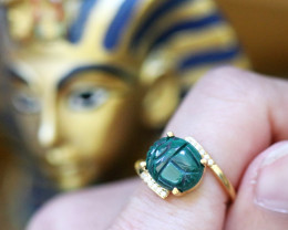 Chrysocolla Silver Ring Gold Plated - Egyptian Scarab design Size6.5 CK 728