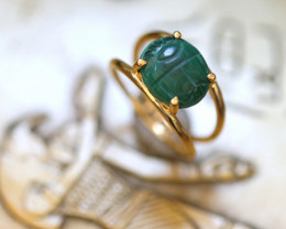 Chrysocolla Silver Ring Gold Plated - Egyptian Scarab design Size6.5 CK 730