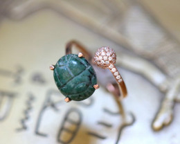 Chrysocolla Silver Ring Copper Plated - Egyptian Scarab design Size6 CK 731