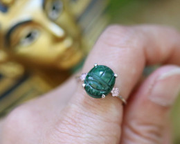 Chrysocolla Silver Ring with Egyptian Scarab design Size6 CK 732