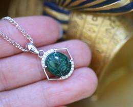 Chrysocolla Silver Pendant  - Egyptian Scarab design CK 739