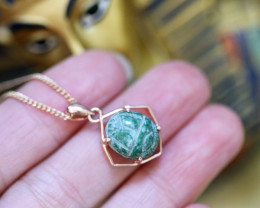 Chrysocolla Silver Pendant  Copper Plated - Egyptian Scarab design  CK 743
