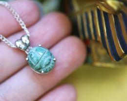Chrysocolla Silver Pendant  - Egyptian Scarab design CK 745