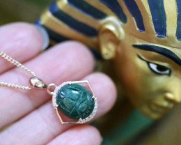Chrysocolla Silver Pendant  Copper Plated - Egyptian Scarab design CK 746