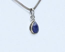 BLUE SAPPHIRE PENDANT 925 STERLING SILVER NATURAL GEMSTONE AP1609