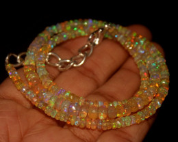 38.65 Crts Natural Welo Faceted Opal Beads Necklace 279
