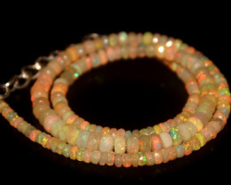 45 Crts Natural Welo Faceted Opal Beads Necklace 284