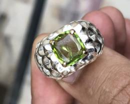 Natural Peridot Amazing Design Ring.