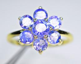 Natural 7Pis Tanzanite 925 Yellow Gold Plating Silver Amazing Design Ring