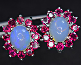 Natural 2Pis Opal ,24Pis Rhodolite925 Silver Earrings