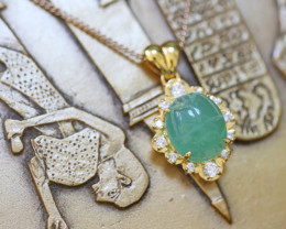 Chrysoprase Silver Pendant Gold Plated with Egyptian Scarab design CK 754