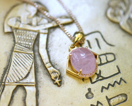 Rose Quartz Silver Pendant  Gold Plated - Egyptian Scarab design CK 761