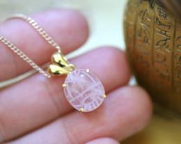 Rose Quartz Silver Pendant  Gold Plated - Egyptian Scarab design CK 762