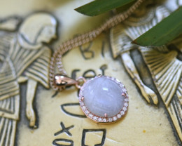Moonstone Silver Pendant Copper Plated - Egyptian Scarab design CK 764