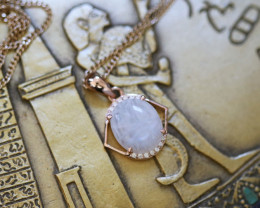 Moonstone Silver Pendant Copper Plated - Egyptian Scarab design CK 765
