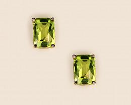 Peridot Stud Earrings, 14k Yellow Gold, Checkerboard Cut