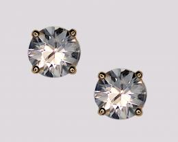 White Zircon Stud Earrings, 14k Yellow Gold, Brilliant Cut