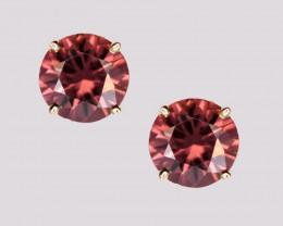 Pink Zircon Stud Earrings, 14k Yellow Gold, Brilliant Cut