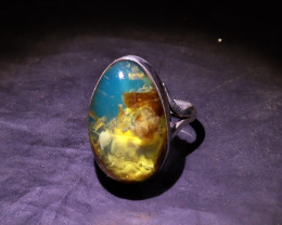 Charming Unique Design Natural Clear Sky Blue Amber .925 Sterling Silver Ri