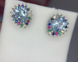 Natural Swiss topaz Ear studs with CZ.