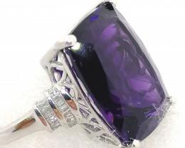 Amethyst and Diamond Ring 14.30tcw.