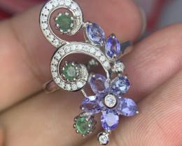 Natural Tanzanite Ring with Emerald.