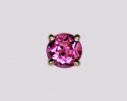 Pink Tourmaline Single Stud Earring, 14k Yellow Gold, Brilliant Cut